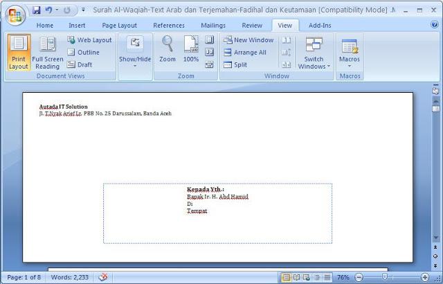 Tips Print Amplop Dengan Mudah Di Word Sedikit Tentang Sipil